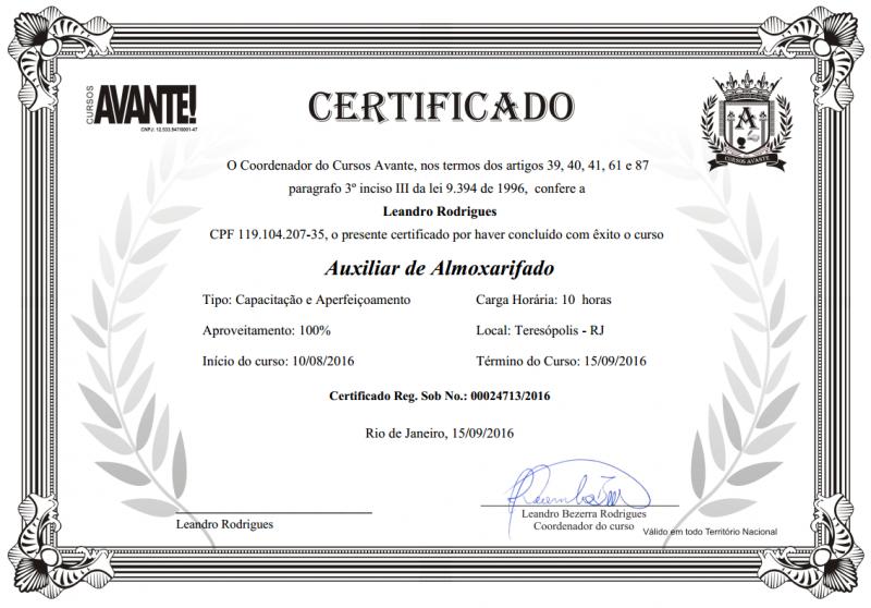 certificado cursos avante frente